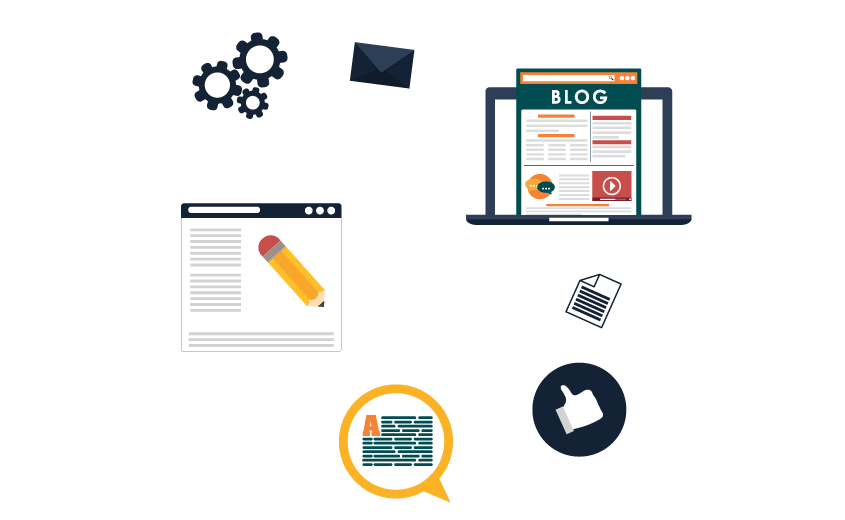 Inforgraphhic displaying how the integration of blogs allows you to easily create discussions, moderate and allow people to comment about your services and products.
